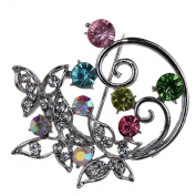 Yazilind Jewellery Silver Plated Colourful Crystal Cute Flower Brooches and Pins for Wedding Party