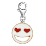 """One (1) Gold Plated Enamel White/Red """"Smilling Face"""" Charm Pendant For European Clip on Charm Jewellery w/ Lobster Clasp"""