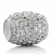 "One (1) ""White Crystal"" Oval European Charm Bead For Snake Chain Bracelets"