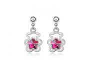 KATGI Fashion 18K White Gold Plated Lovely Bear Austrian Purple Crystal Earrings