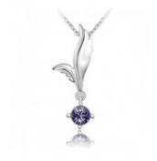 KATGI Fashion 18K White Gold Plated Crystal Angel Austrian Crystal Pendant Necklace