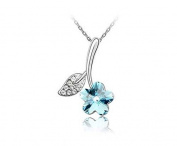 KATGI Fashion 18K White Gold Plated Elegant Cherry Flower with Leaf Austrian Blue Crystal Pendant Necklace