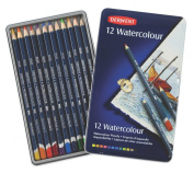 Derwent Watercolour Pencils, 3.4mm Core, Metal Tin, 12 Count
