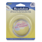 Beadalon Square Wire 316L Stainless Steel 22 Gauge, 6.5-Metre