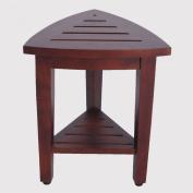 New- Compact Oasis FULLY ASSEMBLED Teak Corner Shower Bench With Shelf- Shower Sitting, Storage, Shaving Foot Rest