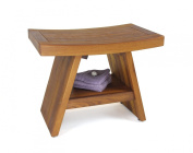 60cm Teak Shower Bench With Shelf - From the Asia Collection
