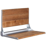 46cm Serena Folding Shower Bench Back Rest Seat Modern Dark Teak Wood Bath