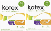 Kotex Natural Balance Lightdays Liners, Unscented, Extra Coverage, 80 ea