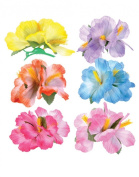 Hibiscus Luau Hair Clips - 12 Pc