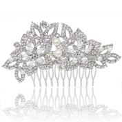 Wedding Silver-Tone Teardrop Simulated Pearl Hair Comb Clear Austrian Crystal K00174-1