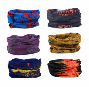 Delicol 6pcs Assorted Seamless Outdoor Sport Bandanna Headwrap Scarf Wrap