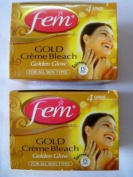 2 FEM Herbal Gold Cream Bleach Wt Real Gold Golden Glow Natural Fairness 26g X 2