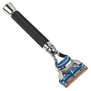 Parker Safety Razor Deluxe Black Fusion Compatible Razor with Long Textured Handle for a Sure Grip!