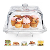 Home Essentials Square 6-in1 Cake Stand & Serving Platter