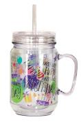 Spoontiques Happy Birthday Mason Jar, Multi Coloured