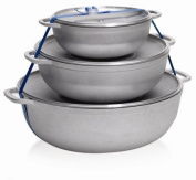 Imusa Stamped Aluminium Caldero Three Piece Set, 18, 22 and 28 Centimetre