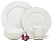 Melange Nantucket Weave Porcelain 40-Piece Place Setting, White, Service for 8