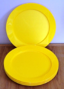 Tupperware Clear Impressions Lunch Plates Sunshine Yellow ~ Clip Together