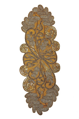 Cotton Craft - Scrolling Leaves Hand Beaded Table Runner - Gold - 33cm x 90cm Oblong - Hand made by skilled artisans - A beautiful complement to your dinner table décor - Spot Clean Only