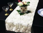 36cm x 270cm Raised Roses Floral Table Top Runner Wedding Linens - White
