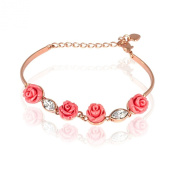 FASHION PLAZA Brand New 18K Rose Gold Plated Bracelet With 4 Red Roses And 2 Teardrop Crystals B166