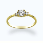 14K Baby Ring White CZ Yellow Gold Ring Size 2 To 5 For Baby, Kids And Teens