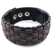 KONOV Jewellery Mens Leather Bracelet, Wide Cuff Bangle, Fit 20cm - 23cm , Brown Black