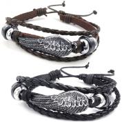 KONOV Jewellery Mens Womens Leather Bracelet, 2pcs Brown & Black Angel Wing Bangle, 18cm - 23cm Adjustable