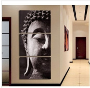 High Quality Hand-painted Group Oil Painting 3 Panel Wall Art Religion Buddha Oil Painting On Canvas No Framed