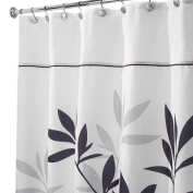InterDesign Leaves X-Long Shower Curtain, Black and Grey, 180cm by 240cm