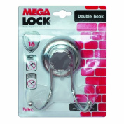 Double Bathroom Hook MegaLock Chrome Plated Plastic / Steel Vacuum Suction Cup