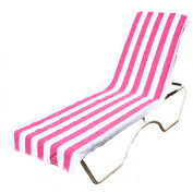 J & M Home Fashions Lounge Chair Beach Towel With Fitted Pocket Top, 70cm by 210cm , Pink