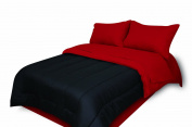 Divatex Home Fashions 75 GSM Super Soft Microfiber Mini Bed in The Bag, Solid Reversble Black/Red, Twin Extra Long