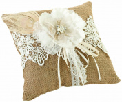 Lillian Rose Burlap and Lace Ring Pillow, 20cm