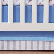 Breathable Baby Blue Mist Stripe Crib Skirt