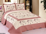 3pcs High Quality Fully Quilted Embroidery Quilts Bedspread Bed Coverlets Cover Set , Queen King