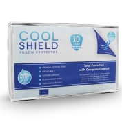 Cool Shield No Allergy Waterproof Pillow Protector (1) - Breathable Cotton Terry Zippered Encasement Protects Against Dust Mites, Allergens, Bacteria, Mould and Fluids - Machine Washable - Size