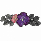 Black-Tone Jonquil. Crystal with Pink and Purple Enamel Barrette
