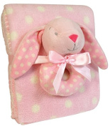 Stephan Baby Rattle and Dot Blanket Gift Set, Pink Bunnie