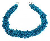Wide Turquoise Stone Bead Necklace