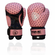 Prime Kids Boxing Gloves Mitts MMA Rex Leather Punch Bag Children Fight Sparring 120ml 180ml Pink Colour with Stars