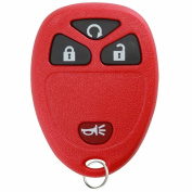 KeylessOption Replacement 4 Button Keyless Entry Remote Control Key Fob -Red
