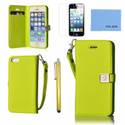 Iphone 5 5s 5c Wallet Case Fashion Ailun leather wallet card flip Cover Skin (Mint Green) with Screen Protector with styli Pen