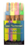 Chalk Ink Fluorescent Wet Wipe Markers, 1mm, 4-Pack