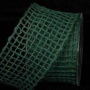 Hunter Green Jute Mesh Wired Craft Ribbon 6.4cm x 22 Yards