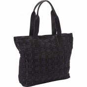 Sharo Leather Bags Leather Weave Tote with Black Canvas