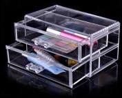JOVANA Luxury Acrylic Cosmetic Organiser Makeup Box 2 Drawers