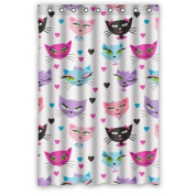 Lovely Cute Cartoon Different Cat Heads Cool Love Heart Shower Curtain 90cm x 180cm Waterproof Polyester Fabric Custom Shower Curtain