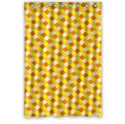 Graceful England Style Yellow Orange Plaid Shower Curtain 90cm x 180cm Waterproof Polyester Fabric Custom Shower Curtain