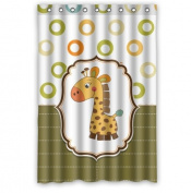 Cute Cartoon Lovely Giraffe Fashion Cool Circles Shower Curtain 90cm x 180cm Waterproof Polyester Fabric Custom Shower Curtain